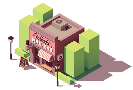 Vector isometric nail bar building 일러스트