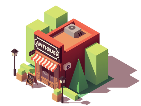 Vector isometric antique shop