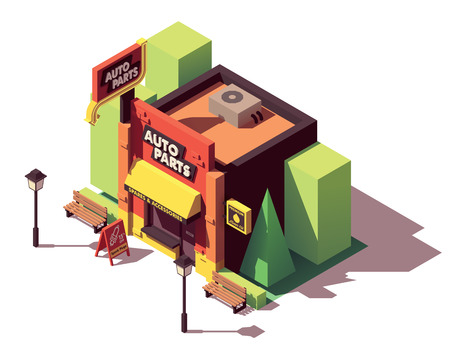 Vector isometric auto parts shop Illustration