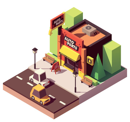 Vector isometric auto parts shop Stock Illustratie