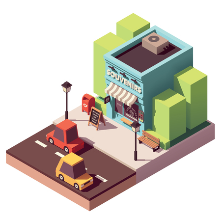 Vector isometric souvenir gift shop