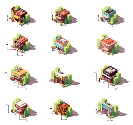 Jeu d'icônes vectorielles boutiques isométriques