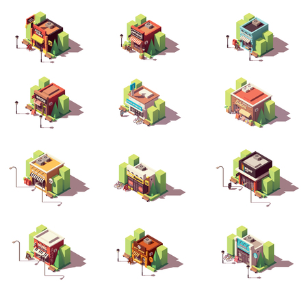 Vector isometric shops icon set