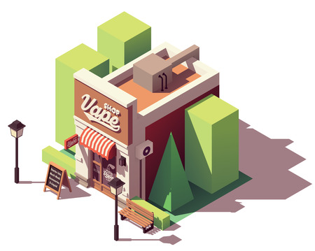 Vector isometric vape shop