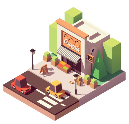 Vector isometric fruits and vegetables store Illustration