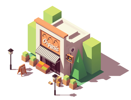 Vector isometric fruits and vegetables store Stock Illustratie
