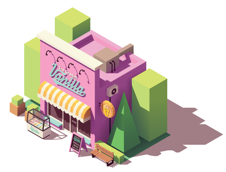 Vector isometric ice cream shop Stock Illustratie