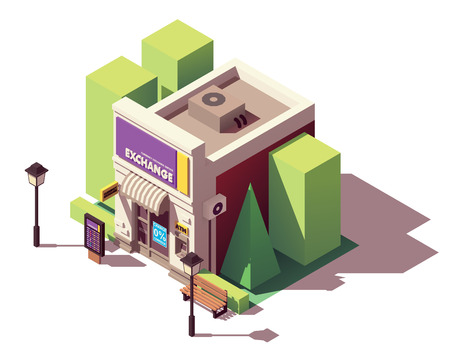 Vector isometric money exchange Stock Illustratie