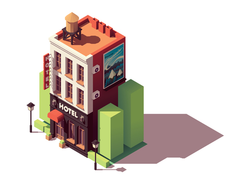 Vector isometric hotel building Illustration