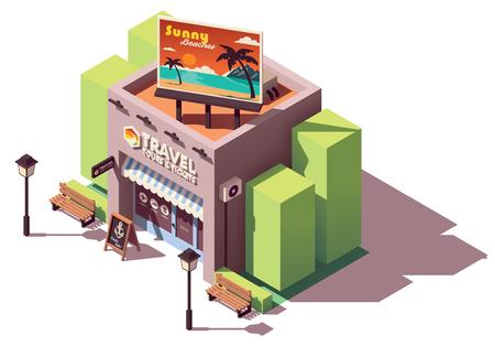 Bureau d'agence de voyages isométrique vectoriel avec panneau d'affichage lié au tourisme