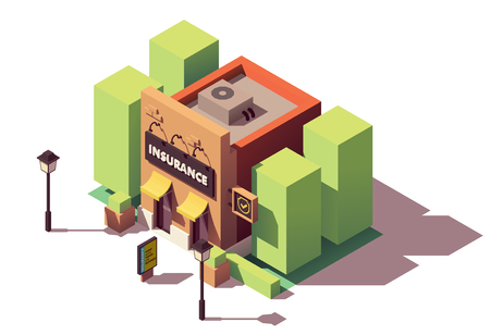 Vector isometric insurance agency Stock Illustratie