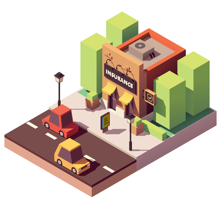 Vector isometric insurance agency Çizim