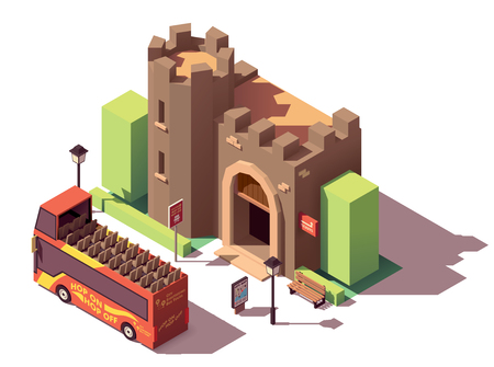 Vector isometric tourist attractions Illustration