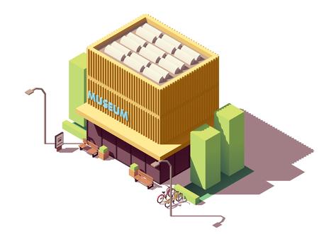 Edificio del museo isometrico di vettore