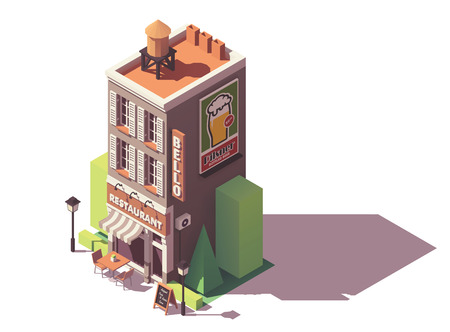 Vector isometric retro restaurant Иллюстрация