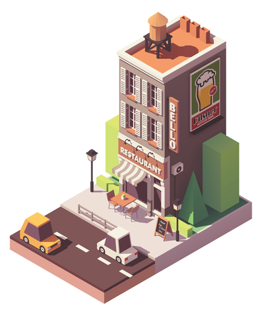 Vector isometric retro restaurant Stock Illustratie