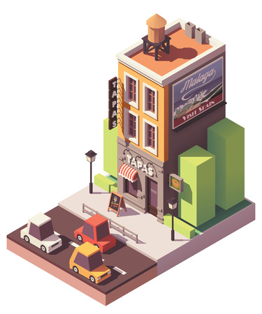 Vector isometric tapas restaurant
