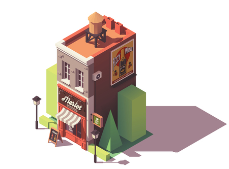 Vector isometric wine shop Stock Illustratie