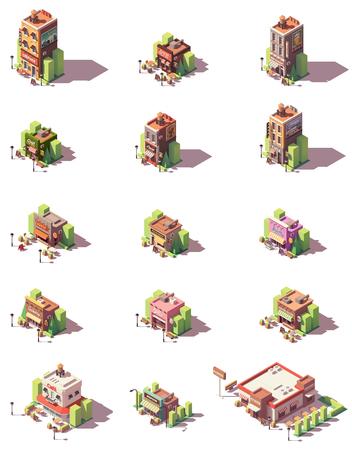Vector isometric restaurants types icons 写真素材