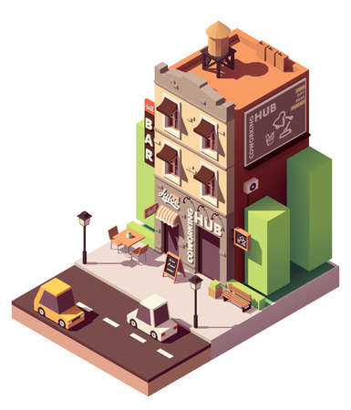 Vector isometric coworking building