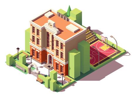Piccolo edificio scolastico isometrico vettoriale con cortile della scuola e campo da basket