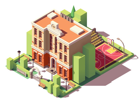 Vector edificio de escuela pequeña isométrica con patio de la escuela y cancha de baloncesto