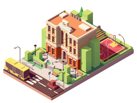 Vector isometric small school building with schoolyard and basketball court Stock Illustratie