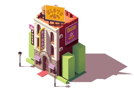 Vector isométrico casino o edificio de casas de juego con letrero de neón y vallas publicitarias de juegos de azar