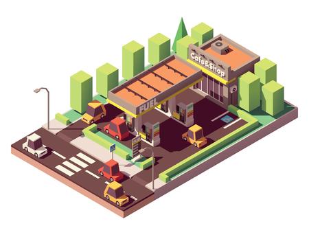 Station d'essence isométrique vectorielle ou bâtiment de station-service avec magasin et café