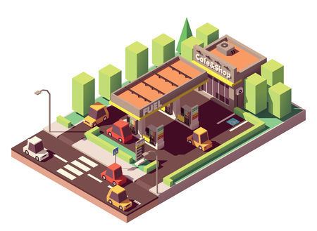 Vector isometric gas station or filling station building with shop and cafe