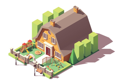 Asilo isometrico vettoriale o edificio prescolare con parco giochi, recinzione e cancello