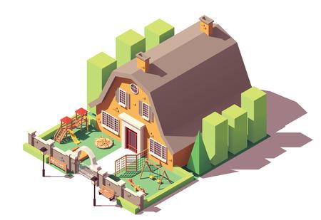 Jardín de infantes isométrico de vector o edificio preescolar con patio de recreo, valla y puerta