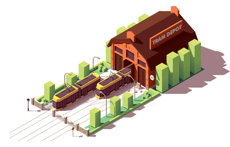 Vector isometric old tram depot and modern yellow tramcars or streetcars on the tramway