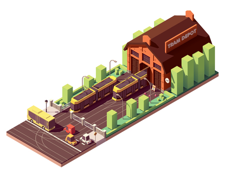 Vector isometric old tram depot and modern yellow tramcars or streetcars on the tramway Stock Vector - 109793695