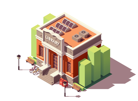 Vector isometric old public library brick building with columns and bicycle parking Çizim