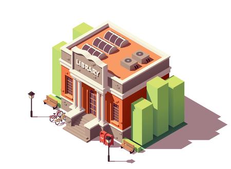 Vektor isometrische alte öffentliche Bibliothek Backsteingebäude mit Säulen und Fahrradabstellplatz