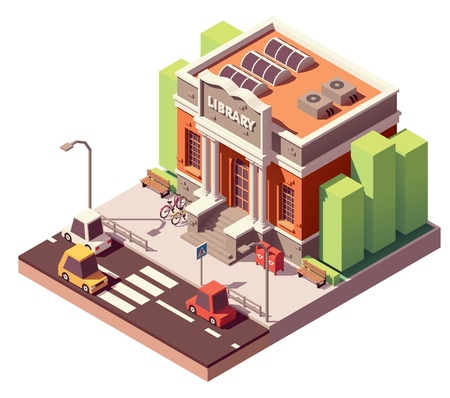 Vector isometric old public library brick building with columns and bicycle parking Illustration