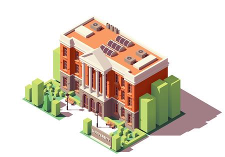 Vector isométrico antiguo edificio universitario o universitario