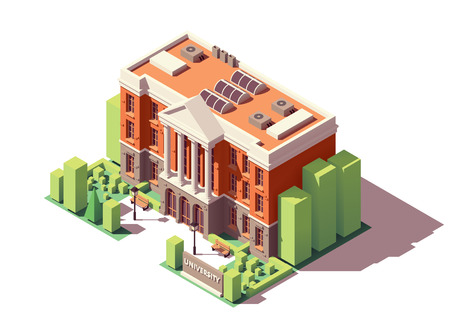 Vector isometric old university or college building Ilustração
