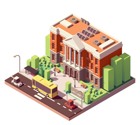 Vector isometrische oude universiteit of hogeschool gebouw
