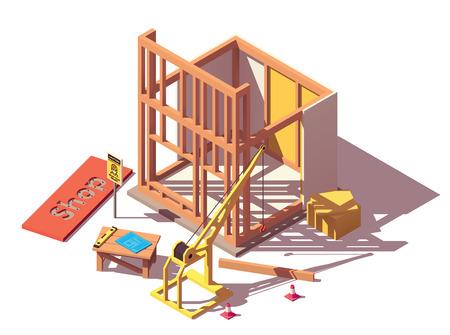 Icône de construction de magasin isométrique de vecteur
