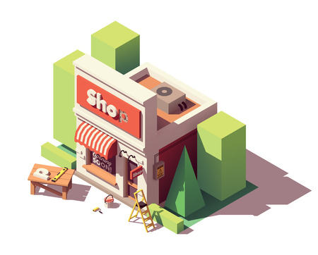 Vector isometric new shop branding icon