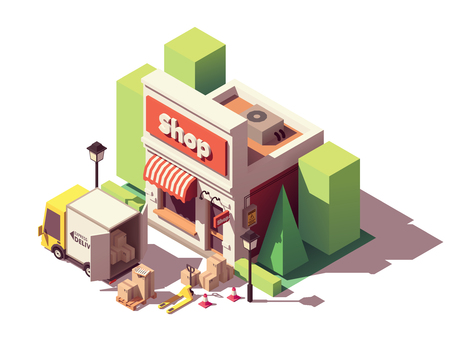 Vector isometric icon representing goods in cardboard boxes delivery to shop or store by truck and then moved by forklift Illustration