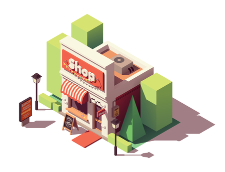 Vector isometric new shop or store grand opening with discount advertising