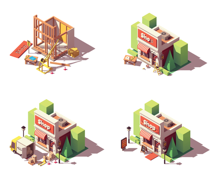 Vektor neuer Ladenöffnungs-Icon-Set