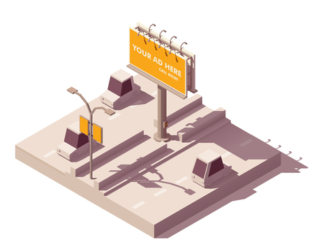 Vector isometric low poly outdoor advertising media types and placement locations illustration representing billboard advertisement and street lamp post advert banner on the road