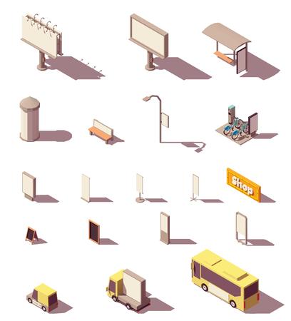Vector izometryczny zestaw nośników reklamy zewnętrznej obejmuje billboard z podświetleniem, billboard z podświetleniem, citylight, banery, wiatę przystankową, kolumnę reklamową, oznakowanie, małą architekturę i transport Ilustracje wektorowe