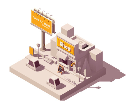 Vector isometric low poly outdoor advertising media types and placement locations illustration representing billboard advertisement, shop with neon signage, wooden signboard, and digital citylight Illusztráció
