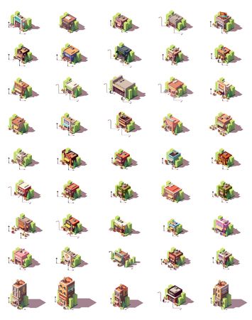 Vector isometric shops and stores icon set Illustration