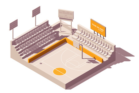 Vector isometric low poly outdoor advertising media types and placement locations illustration representing billboard and poster advertising on stadiums or sports venue Banco de Imagens - 113575033